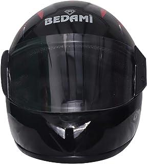Bedami DJ-0001 Wiz Reflective Full Face Helmet (Large 560 MM, Red with Plain Visor)
