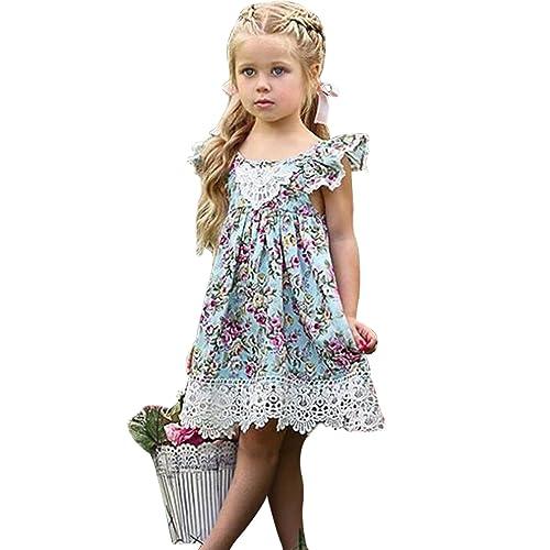 30fd2053d27 EGELEXY Baby Girls Sleeveless Lace Wedding Vintage Birthday Party Princess  Flower Dress