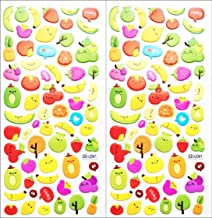 Stickers 2 Sheets Cute Fruit Strawberry Apple Banana Pineapple Grapes Cartoon Foam Stickers for Personalize Laptop Scrapbook Daily Planner and Crafts