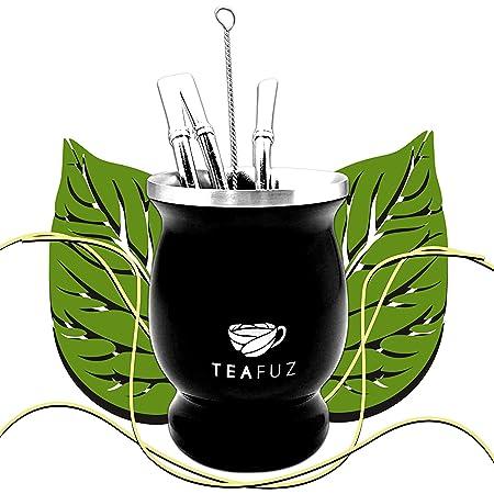 TeaFuz - Mug à Mate, Calebasse pour Yerba Verde + Ensemble De Bombilla et Goupillon, Tasse Argentine, Callebasse Feuilles De Tea Vert Bio, Gourde Thermos du bresil, Coffret Argentin, Kit Idee Cadeau