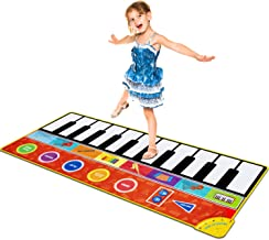 Cyiecw Piano Music Mat, Music Dance Mat Keyboard Playmat with 19 Keys Piano Mat, 8 Selectable Musical Instruments Build-in Speaker & Recording Function for Kids Girls Boys, 58.26 x 23.62 inches