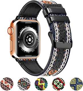 Bertiveny Women Genuine Leather Band Compatible with Apple Watch 38mm 42mm 40mm 44mm Nylon Leather Band for Iwatch Series 5 4 3 2 1 Women Replacement Band with Black Buckle(Ethnic Green Plaid,38/40mm)