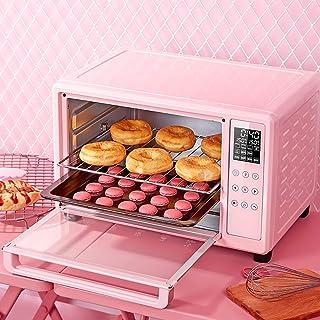 Horno inteligente, mini horno eléctrico con doble placa de cocción y parrilla, mini horno eléctrico con temporizador, horno inteligente con pantalla táctil, mini horno electrónico pequeño completamen