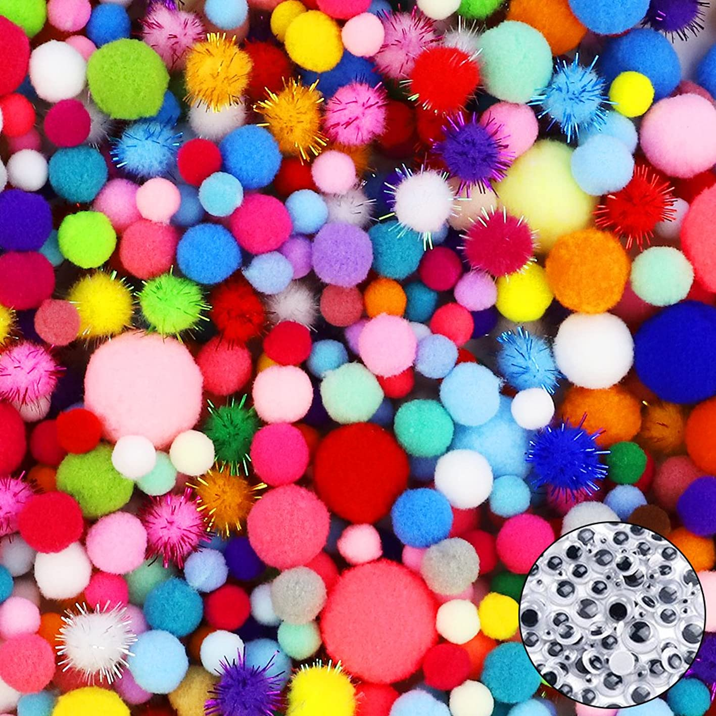 HEHALI 1600pcs Pom Poms Set,Including 1500pcs Pom Poms Craft Assorted Sizes and Colors with 100pcs Wiggle Googly Eyes for Hobby Supplies and Creative Craft DIY Material (1600 pcs) sxcmpgjfcqj309