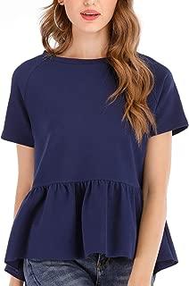 Beagly Women's Cute Slim Fit Crew Neck T Shirts Plain Peplum Tops T Shirts