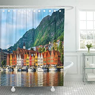 Emvency Waterproof Fabric Shower Curtain Hooks Bergen Norway View of Historical Buildings in Bryggen Hanseatic Wharf UNESCO World Heritage Site Extra Long 72