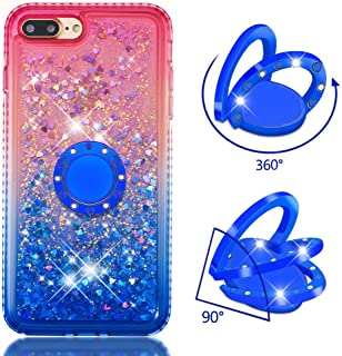 Case for iPhone 7 Plus/8 Plus,Brilliant Glitter Flowing Floating Quicksand TPU Case Diamond-Set Side with Moving Sequins & Finger Ring Stand Compatible with Apple iPhone 7 Plus/8 Plus