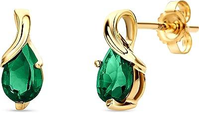 Orovi Orecchini da donna a goccia in oro giallo con pietre preziose, zaffiro, rubino, smeraldo in oro 14 carati (585) e Oro giallo, cod. OR1003E