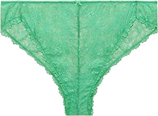 M/&S Sage Green Cotton Rich Full Briefs Knickers Panties Size 24 Lace Trim NEW