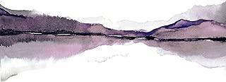 Black, Grey, Purple, White Landscape Painting, Watercolor Painting Print, Mountain Artwork, Purple Grey Wall Decor, Lake, Masculine Art Print