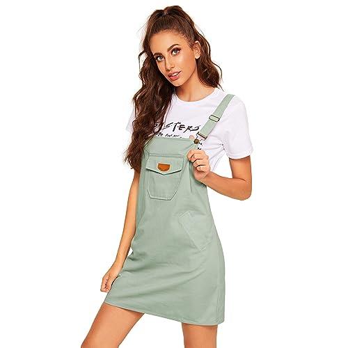 e336900ac1 Floerns Women s Cute Strap Button up Corduroy Overall Sheath Pinafore Dress