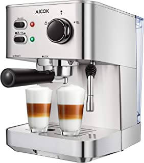 Espresso Machine, Aicok Espresso and Cappuccino Maker 20 Bar Stainless Steel, Coffee Brewer with Milk Steamer for Cappuccino, Latte and Mocha, Warm Top for Cup Placing, 1050W