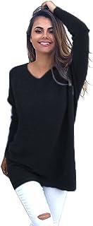 Yidarton Women Casual and Fashion Oversized Dress Long Sleeve V Neck Knit Sweater
