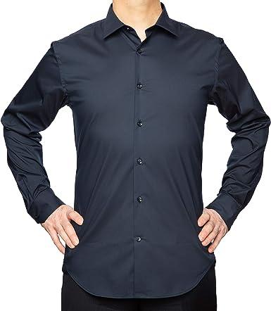 studio basics 38 Camisa de Vestir Azul Marino en Algodón de Doble torsión con Elastano en Popelina para Hombre Corte Slim fit – Sin Planchar