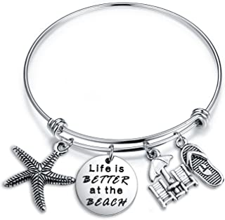 ENSIANTH Summer Beach Jewelry Life is Better at The Beach Charm Bracelet Best Gift for Beach Lover