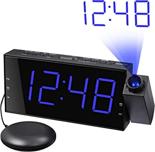 Loud Alarm Clock with Bed Shaker & Projector, Large LED Display & Dimmer, USB Charger, 12/24 H, Vibrating Porjection Alarm Clock for Heavy Sleeper, Deaf, Hearing Impaired, Bedroom Wall Ceiling Pillow