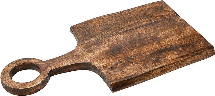 Main + Mesa Modern Boho Mango Wood Cutting Board with Handle for Chopping, Cheese Boards or Charcuterie Serving Trays or Kitchen Decor, Dark Finish, Medium (EC0695)