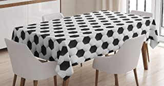 Sports Decor Tablecloth by Ambesonne, Soccer Ball Pattern Athletic Sport themed Geometric Modern Artistic Design , Dining Room Kitchen Rectangular Table Cover, 52 X 70 Inches