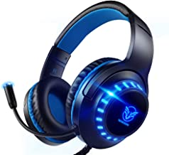 Best Pacrate Gaming Headset for PS4 PC Xbox One Headset with Microphone Noice Cancelling Stereo Surround Sound Headphone with LED Light Intense Bass for PC Laptop Mac (Black Blue) Reviews