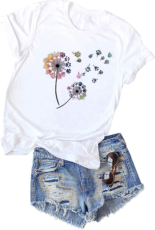 Forwelly Short Sleeve T Shirt for Women Girl Plus Size Tee Shirt Fashion Dandelion Print Crewneck Tunic Top Blouse