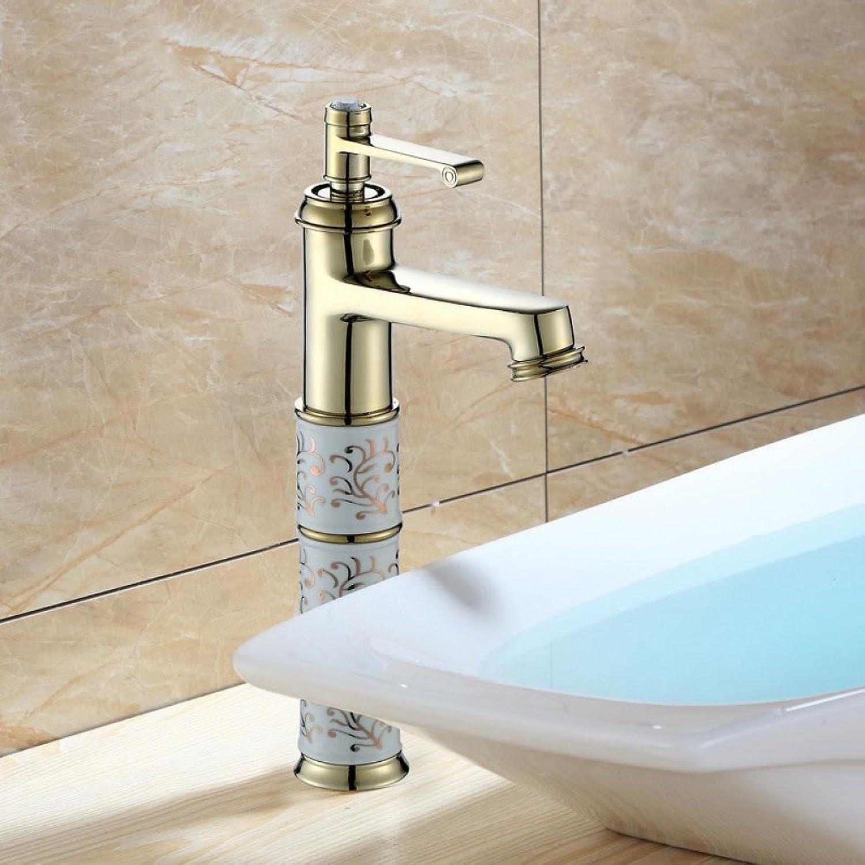 LPW Faucet Boutique European gold Copper Above Counter Basin Faucet Ceramic Basin Faucet Above Counter Basin Art Basin Faucet
