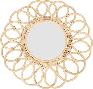 YARNOW Rattan Wall Mirror Round Decorative Wicker Wall Mounted Mirror Bamboo Wood Art Frame Mirror for Livingroom Bedroom ...