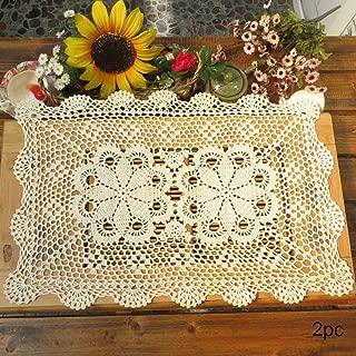kilofly Crochet Cotton Lace Table Placemats Doilies Set, 2pc, Oblong, Beige,15 x 23 inch