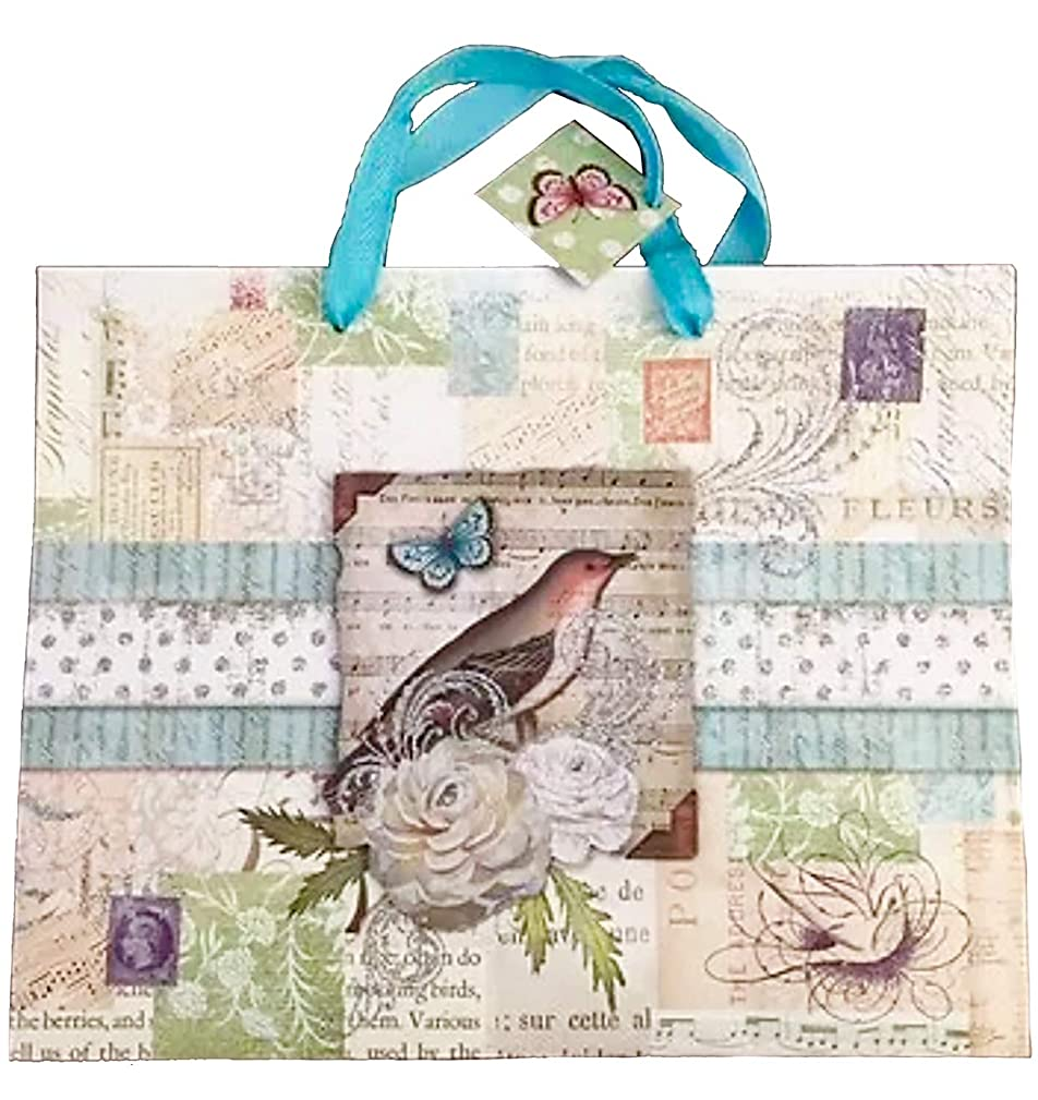 Punch Studio Large Horizontal 3D Die-Cut Silver Glitter Embellished Gift Bag with Tag ~ Fleurs Musical Bird 95478