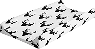 Changing Pad Cover Boy Girl - Baby Changing Table Covers - Woodland Nursery Decor by JLIKA (Black White Deer Antlers)
