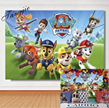 TJ 7X5FT Cartoon Paw Patrol Theme Photo Backdrops Kids Baby Shower Birthday Party Decotation Photography Background Cake Table Decor Banner Kids Studio Booth Props Vinyl