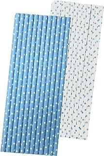 شفاطات ورقية باللون الأزرق والأبيض - نقاط بولكا - 19 سم - 50 قطعة