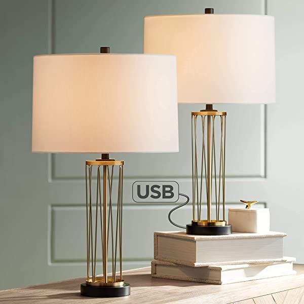 Nathan Modern Table Lamps Set Of 2 With Hotel Style USB Charging Port Gold Metal Drum Shade For Living Room Family Bedroom Bedside 360 Lighting
