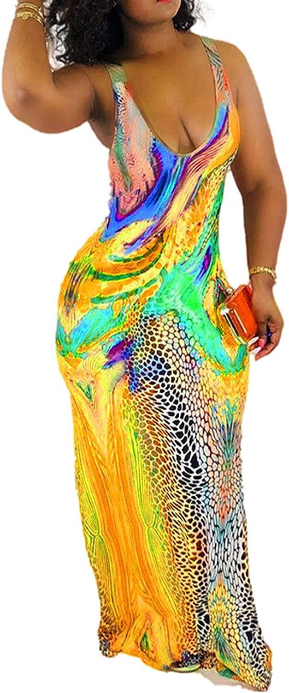 Womens Tie Dye Maxi Dresses Sleeveless Casual Sexy Vintage Floral Summer Boho Bodycon Long Dress Plus Size Sundresses