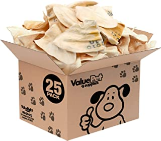 ValueBull New Premium Cow Ears w/Tattoos, 25 Count - All Natural Dog Treats, 100% Angus Beef, Single Ingredient Rawhide Al...