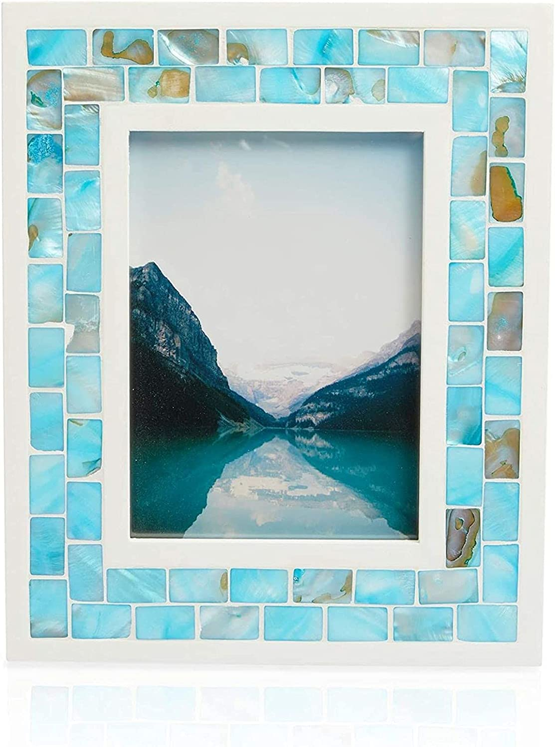 Okuna Outpost Seashell Picture Frame for 5 x 7 Inch Photos (Blue