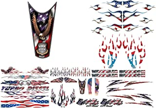 East Coast Vinyl Werkz American Flag Decals - 17 Options - for Cars Trucks 4x4 Motorcycles Lawn mowers - for Chevy Ford Dodge Harley Davidson Honda John Deere (Live Free Eagle - 1pc Top Tank Decal)
