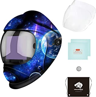 Tekware Large Viewing Screen Welding Helmet Auto Darkening, Luminous True Color Welding Hood Solar Powered, Hemispherical 4C Lens, 4 Arc Sensor Variable Shade 4~5/9-9/13 for TIG MIG Arc Welders Mask