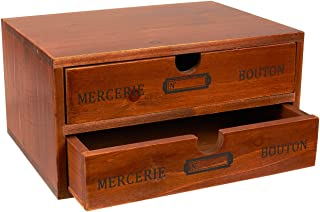 Juvale Small Wood Desktop Organizer Storage Box with Drawers, French Design