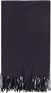 Great & British Knitwear Men's and Ladies ZT018 100% Cashmere Scarf with Fringe. Made in Scotland-Eggplant-One Size