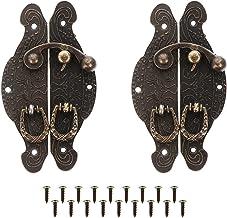 Angoily 2 Pcs Antiek Messing Decoratieve Hasp Jewelry Houten Box Kluwen Klink Scharnieren Met Schroeven Voor Kabinet Toolb...