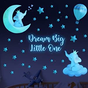 Elephant Wall Stickers Glow in The Dark Elephant Decal Baby Dream Big Little One Boy Nursery Room Wall Decor Quote Wall Stickers Large Watercolor Animal Decal for Kids Girl Bedroom Playroom Wall Decor