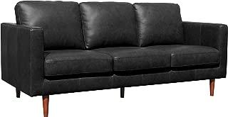Rivet Revolve Modern Leather Sofa Couch, 80