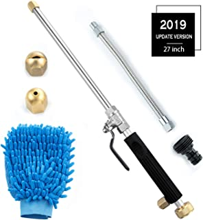 Ehoovis Hydro Deep Jet Power Washer Wand High Pressure Garden Sprayer Attachment, Water Hose Nozzle,Flexible Glass Cleaning Tool, Foam Cannon Car Window Washer, 2 Tips (27inch)
