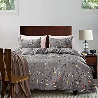 Tebery Ultra Soft Microfiber Duvet Cover Set with Zipper Closure Botanical Bedding Set Branches Leaves Pattern Wrinkle and Fade Resistant (Queen)