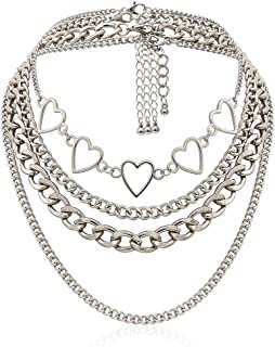 Aimimier Punk Link Chain Choker Necklace Set 4Pcs Hollow Heart Choker Hiphop Chunky Chain for Women and Girls