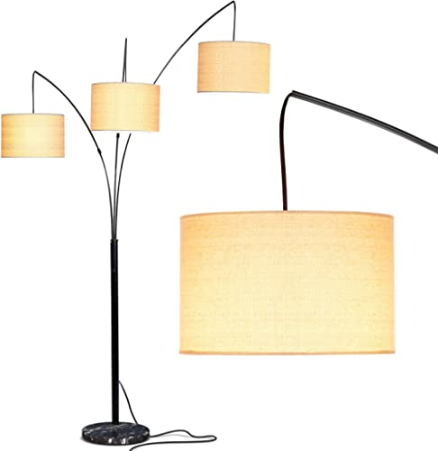 Brightech Trilage Arc Floor Lamp w/ Marble Base -- 3 Lights Hanging Over The Couch from Behind - Multi Head Arching T...