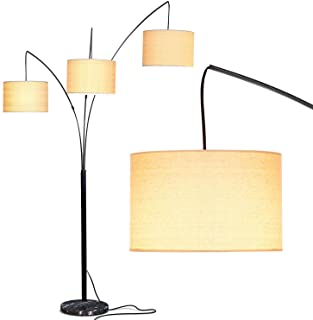 Best Brightech Trilage Arc Floor Lamp w/ Marble Base -- 3 Lights Hanging Over The Couch from Behind - Multi Head Arching Tree Lamp - for Mid Century, Modern & Contemporary Rooms - Black Review