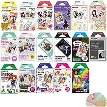 Fujifilm Instax Mini Instant Film 17 Set, Sky Blue, Black, Single, Monochrome, Candy pop, Stained Glass, Shiny Star, Rainbow, Comic, Airmail, Stripe, 6 Character + Sticker