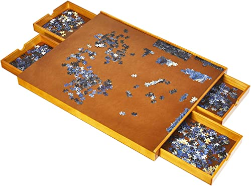 wholesale Giantex 31.5'' x 25.5'' online sale Wooden Jigsaw Puzzle Table, 1500 Pieces Puzzles Puzzle Board with Smooth Work Surface and 4 Sliding Drawers, Portable Jigsaw high quality Puzzle Table sale