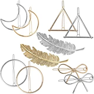 DELFINO Metal Hairpins Geometry Hair Clip - Feather Circle Triangle Butterfly Moon Shape Hair Pins for Women Hair Accessor...